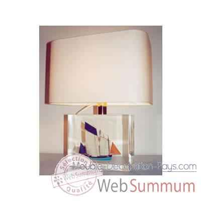 Moyenne Lampe Rectangle Chaloupe Can 23 bleu Abat-jour Rectangle Beige-127