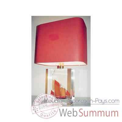 Moyenne Lampe Rectangle Chaloupe Rouge Can 23 Abat-jour Rectangle Rouge-128