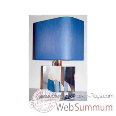 Petite Lampe Rectangle Lougre Blanc & Bleu Abat-jour Rectangle Bleu Fonce-107