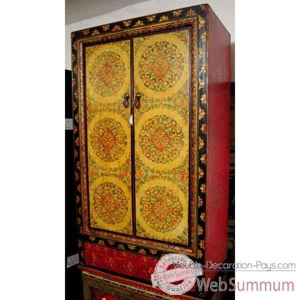 Armoire 2 portes et tibetain style chine c0876 dans for Decoration porte armoire