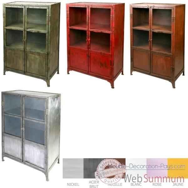 Armoire vitr e 2 portes patine vert hindigo jc80gree dans - Patine meuble metal ...