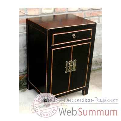 armoirette 2 portes et 1 tiroir laqu noire craquel e style chine c0904n. Black Bedroom Furniture Sets. Home Design Ideas