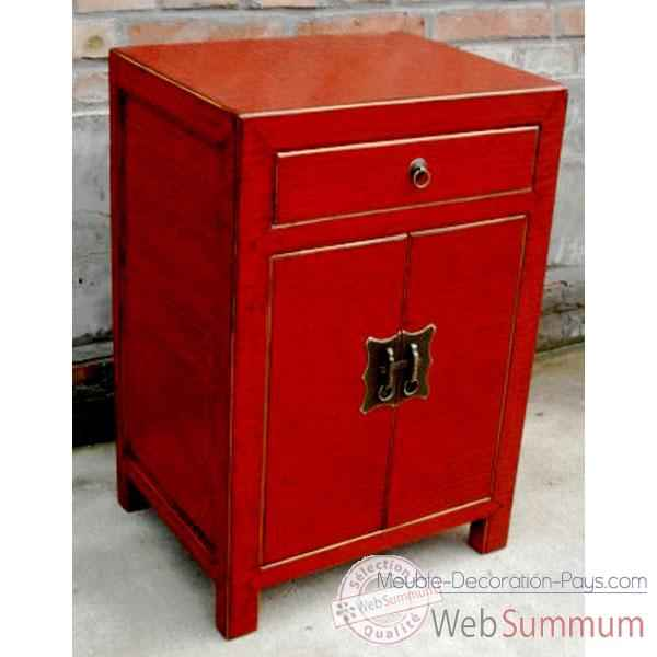 armoirette 2 portes et 1 tiroir laqu rouge craquel e style chine dans armoire. Black Bedroom Furniture Sets. Home Design Ideas