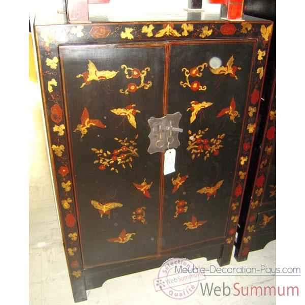 Armoirette 2 portes noire style chine c0928n de art for Meuble chine design