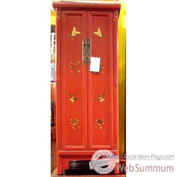 Armoirette 2 portes rouge style chine c0930r dans armoire for Decoration porte armoire