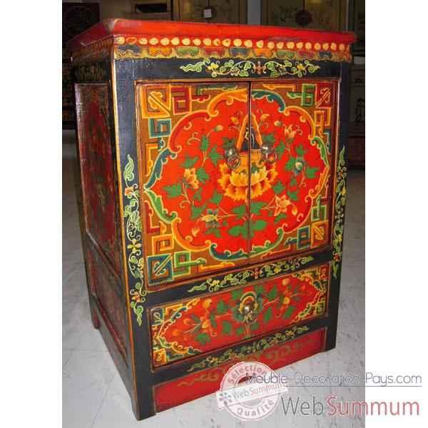 armoirette 2 portes et 1 tiroir tibetain style chine c0608 dans armoires. Black Bedroom Furniture Sets. Home Design Ideas