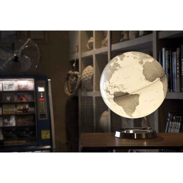 Globe lumineux light and colour metal chrome en anglais