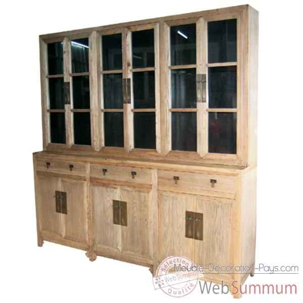 Biblioth que 6 portes vitr es 3 tiroirs bas et 6 portes for Meuble chine design