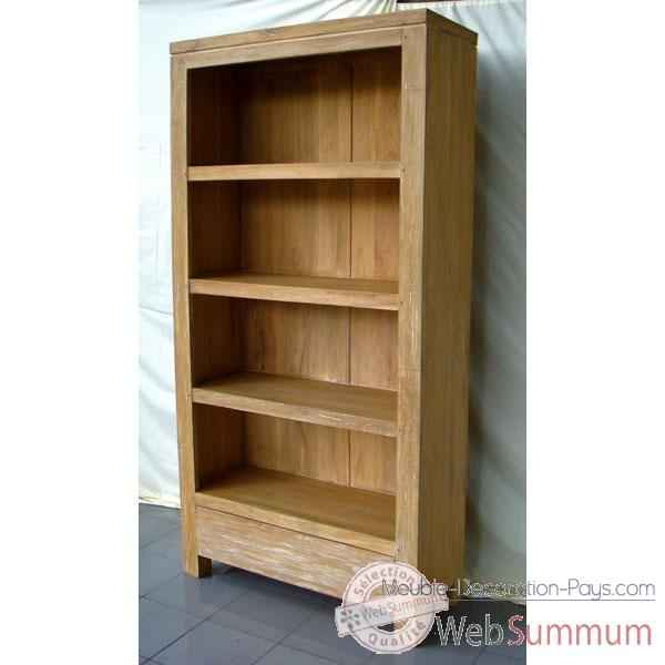 Bibliotheque tagere bois naturel meuble d 39 indon sie for Meuble bibliotheque design