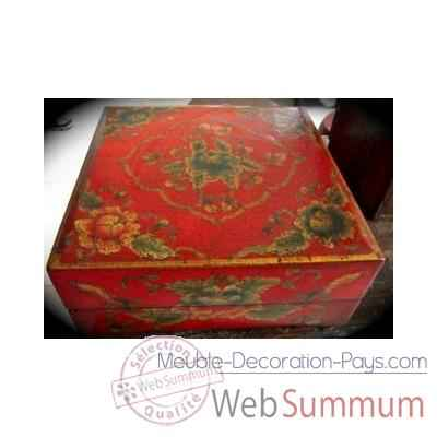 Boite carree rouge Art Design Indonesien -C3029