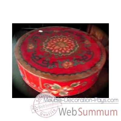 Boite ronde rouge Art Design Indonesien -C3030