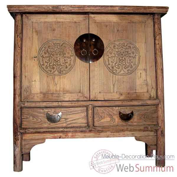 Buffet 2 portes et 2 tiroirs decape ancien style Chine -C0722