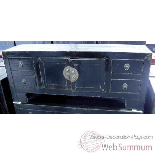 Buffet bas 2 portes et 4 tiroirs noir style chine chn055n for Meuble bas chinois
