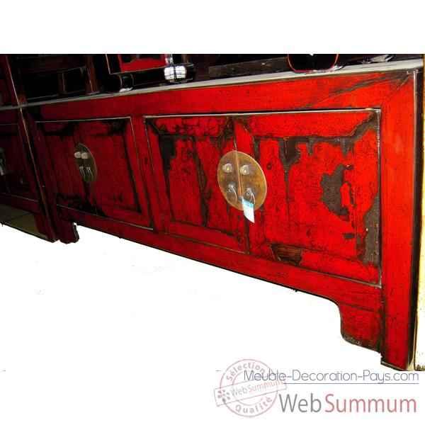 Buffet Bas 4 Portes Rouge Laqué Style Chine -Chn246 Dans Buffet De