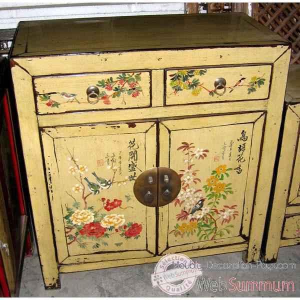 Buffet 2 portes et 2 tiroirs cr me motif oiseaux style for Meuble chine design