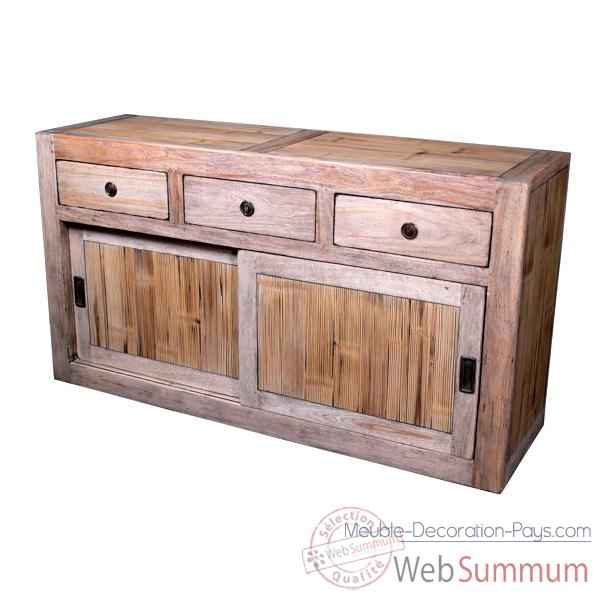buffet avec 2 portes coulissantes 3 tiroirs en bois naturel meuble d 39 indon sie. Black Bedroom Furniture Sets. Home Design Ideas