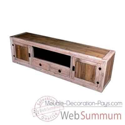 Buffet bas avec 2 portes 2 tiroirs et 1niche en bois for Meuble bas deux portes
