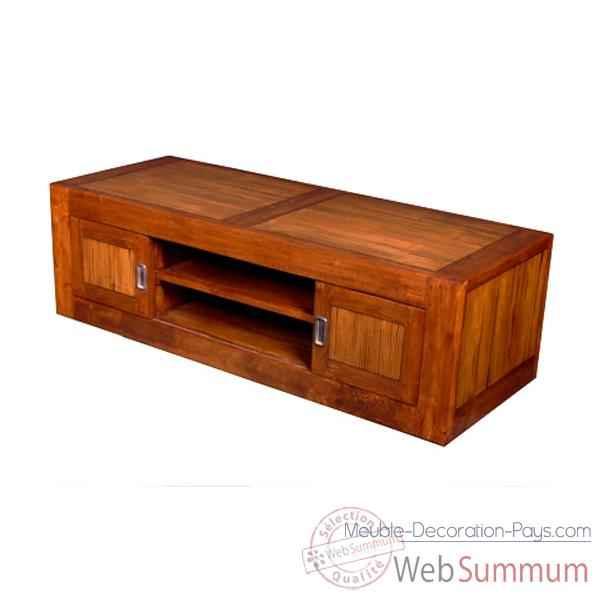 vid o meuble bas 4 portes coulissantes en bois cir meuble d 39 indon sie 56780ci sur meuble. Black Bedroom Furniture Sets. Home Design Ideas