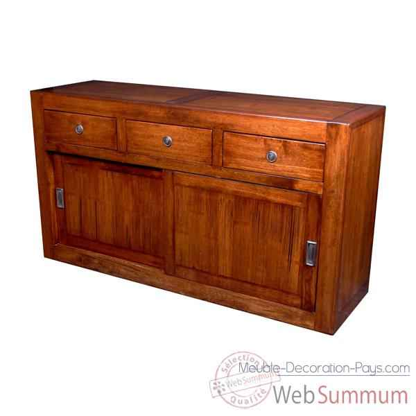 buffet avec 2 portes coulissantes et 3 tiroirs en bois cir meuble d 39 indon sie. Black Bedroom Furniture Sets. Home Design Ideas