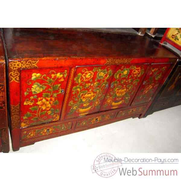 Buffet 4 portes et 3 tiroirs dongbei rouge style Chine -C3002R