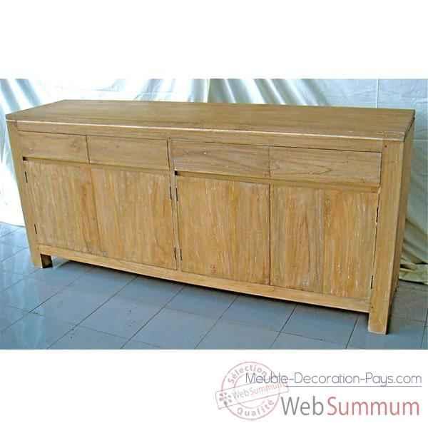 Buffet avec 4 portes et 4 tiroirs en bois naturel meuble d - Meuble par correspondance ...