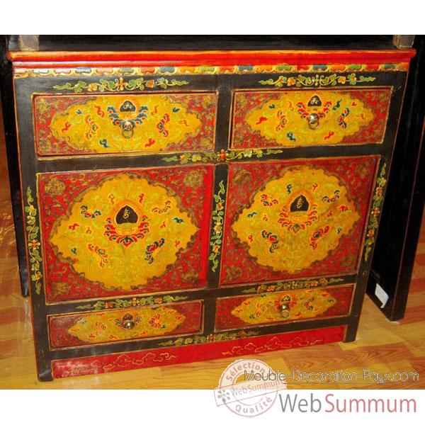 Buffet 4 portes et 2 tiroirs tibetain style Chine -C0871