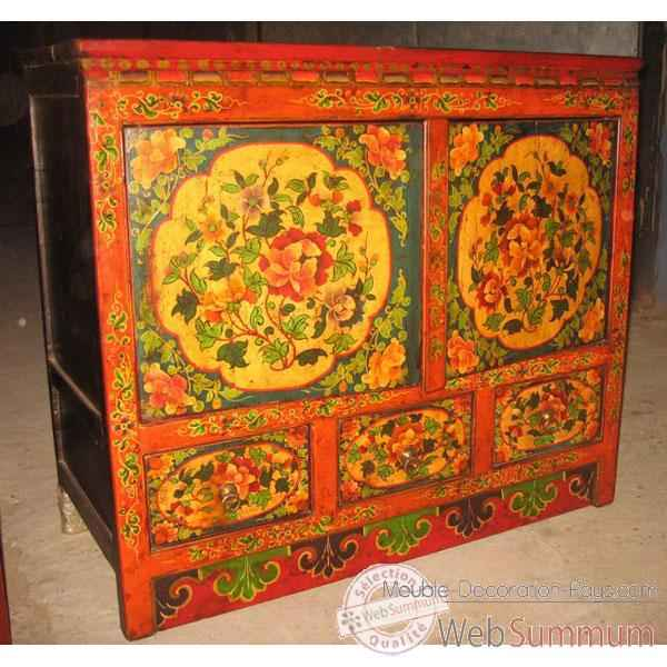 Video Buffet 2 portes et 3 tiroirs tibetain style Chine -C0898