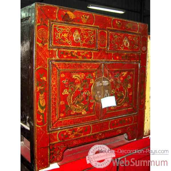 Buffet rouge peint style Chine -CHN245