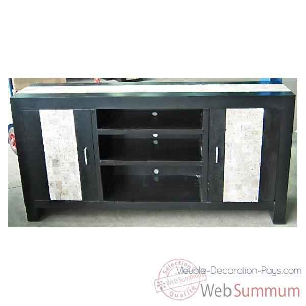 Buffet TV avec 2 portes et 3 niches fabrique en Indonesie Meuble d'Indonesie -57005
