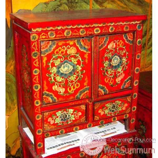 buffet rouge peint style chine chn245 sur meuble. Black Bedroom Furniture Sets. Home Design Ideas