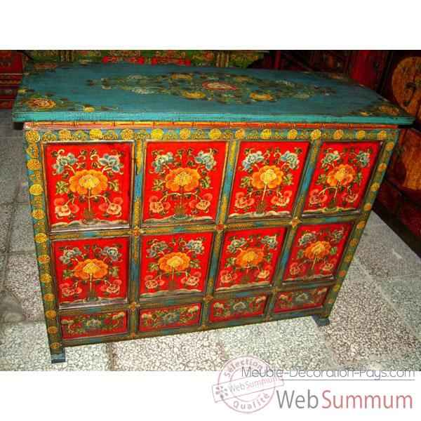 Buffet rouge peint style chine chn245 sur meuble for Meuble style chinois