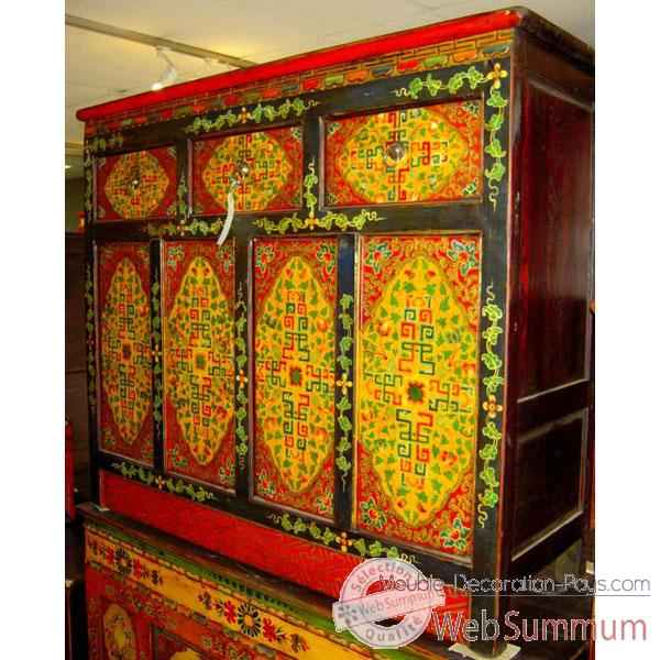 Buffet tibetain 4 portes et 3 tiroirs style Chine -C0639