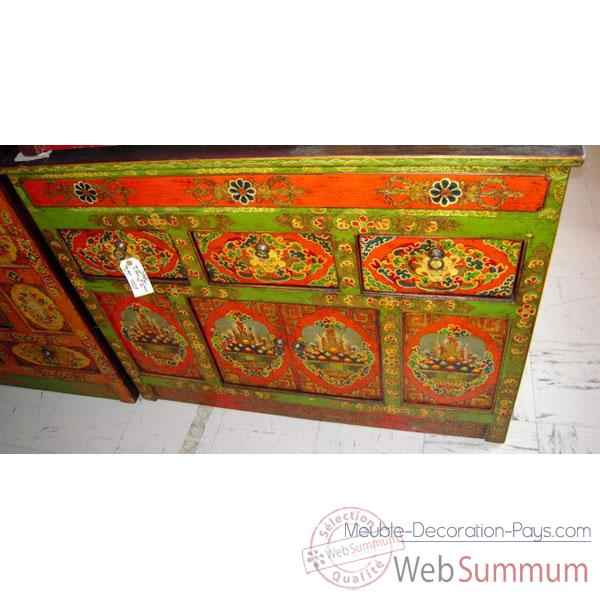 Buffet tibetain 4 portes et 3 tiroirs style Chine -C0640