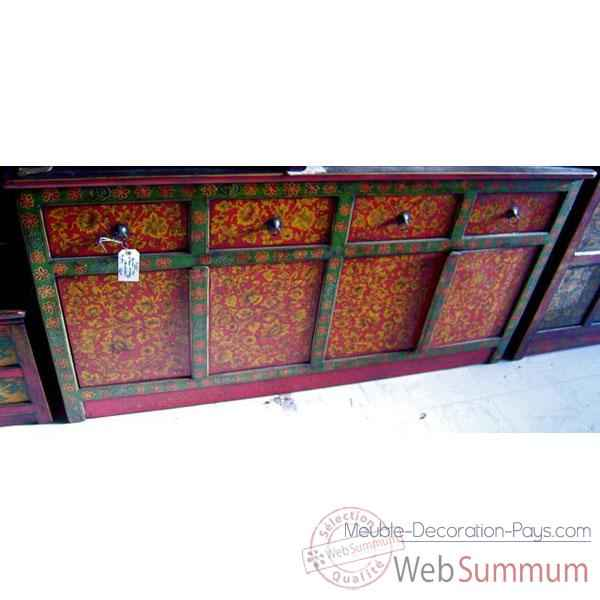 Buffet tibetain 4 portes et 4 tiroirs style Chine -C0641