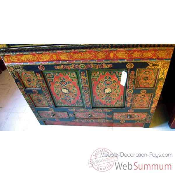 Buffet tibetain 2 portes et 3 tiroirs style Chine -C0644