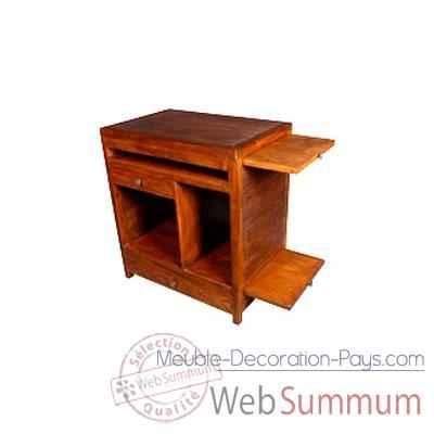 Bureau ordinateur avec 1 tiroir et 3 niche stri meuble d for Meuble bureau ordinateur