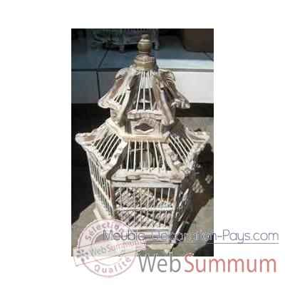 Cage Pagode blanche Art Design Indonesien -32276BL