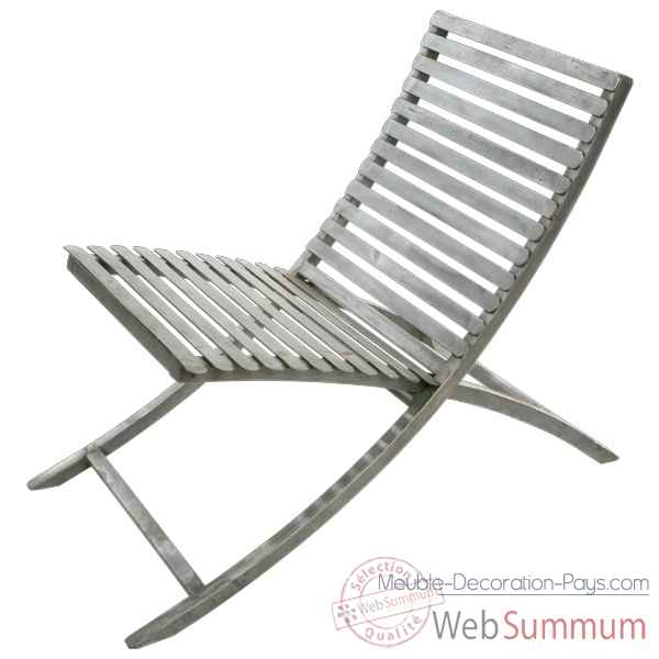 Chaise Metal jardin couleur grise Hindigo -JE12GREY