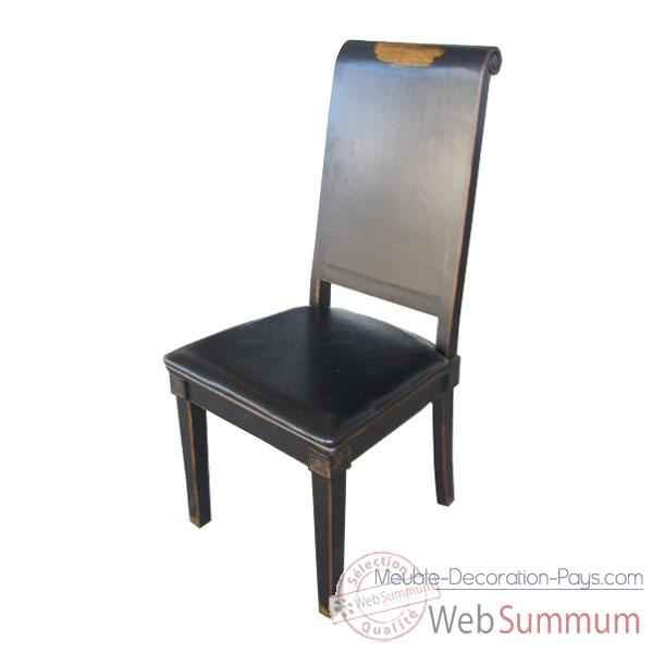 Chaise noire vieillie assise cuir eastern style Chine -C0563
