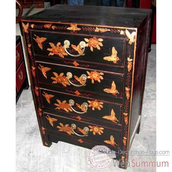 Chiffonnier 4 tiroirs laqu noire fleurs style chine for Meuble chine design