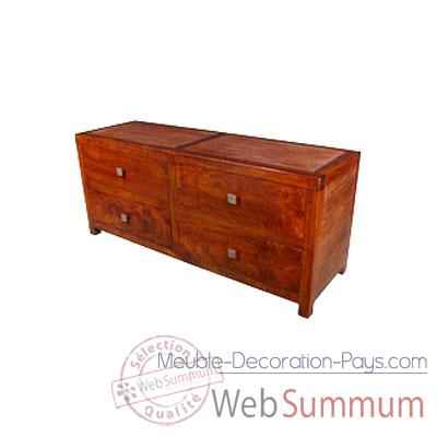 Commode basse de 4 tiroirs strie Meuble d'Indonesie -53954