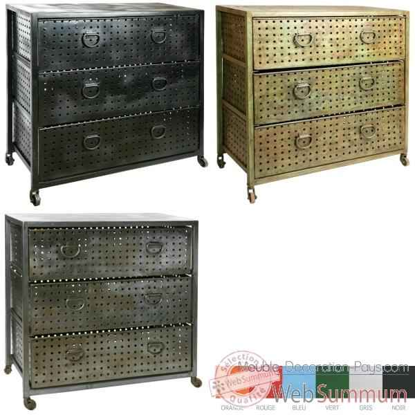 commode m tal 3 tiroirs acier brut hindigo jc79bru dans meuble indien. Black Bedroom Furniture Sets. Home Design Ideas