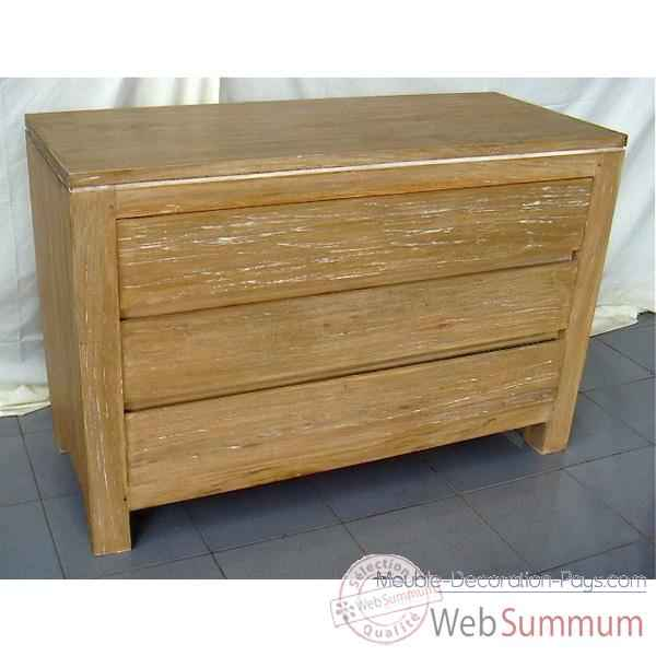 Commode 3 tiroirs bois naturel meuble d 39 indon sie 57053 for Meuble bois commode