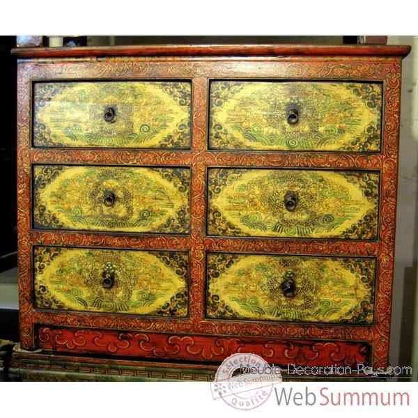 Commode 6 tiroirs tibetain style chine c0896 de art design chinois de meuble - Meuble par correspondance ...