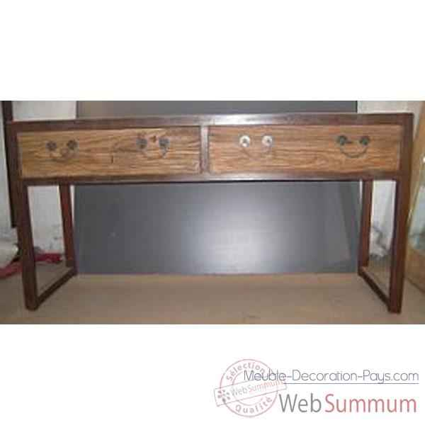 Vid o console 2 tiroirs fer et vieil orme brut style chine - Console but meuble ...