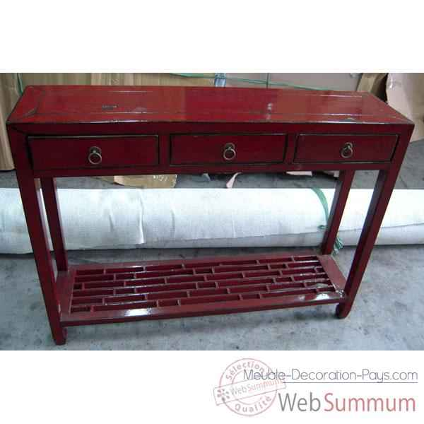 console bas caillebotti rouge style chine chn076r dans console et commode. Black Bedroom Furniture Sets. Home Design Ideas