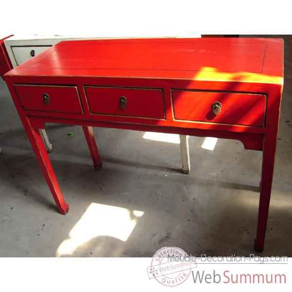 Console 3 tiroirs rouge style chine c0951r photos meuble decoration pays d - Meuble console rouge ...