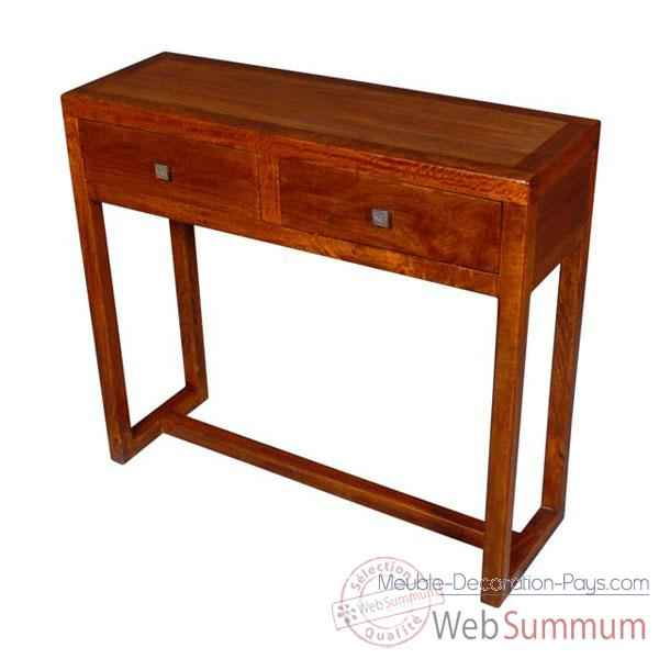 Console de 2 tiroirs strie Meuble d'Indonesie -53955