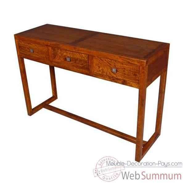 Console avec 3 tiroirs stri meuble d 39 indon sie 53956 for Console meuble design