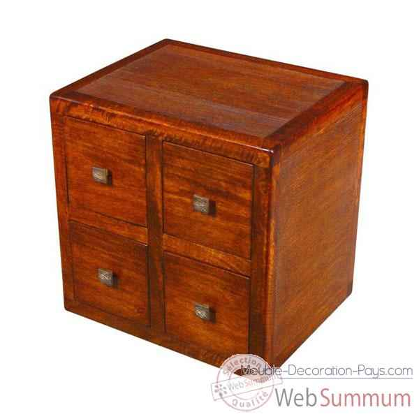 cube avec 4 tiroirs stri meuble d 39 indon sie 53960 dans. Black Bedroom Furniture Sets. Home Design Ideas